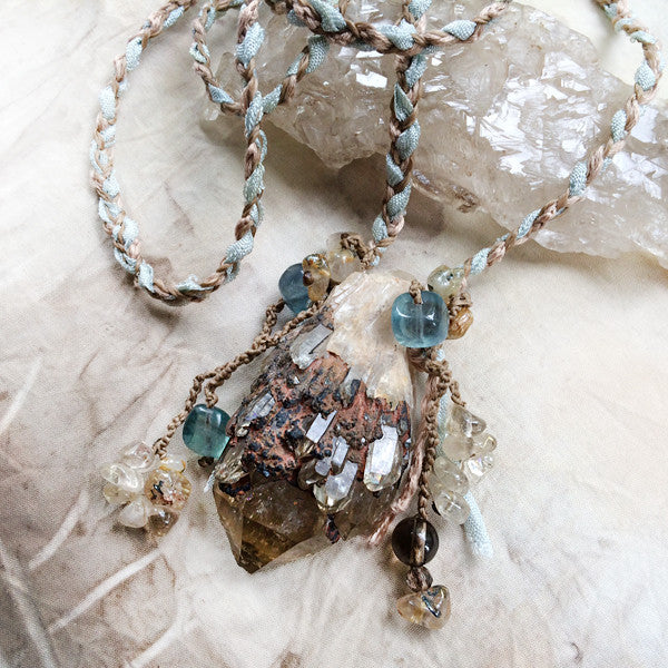 Lightbrary Citrine amulet with Blue Fluorite, Gold Rutile Quartz & Smokey Quartz