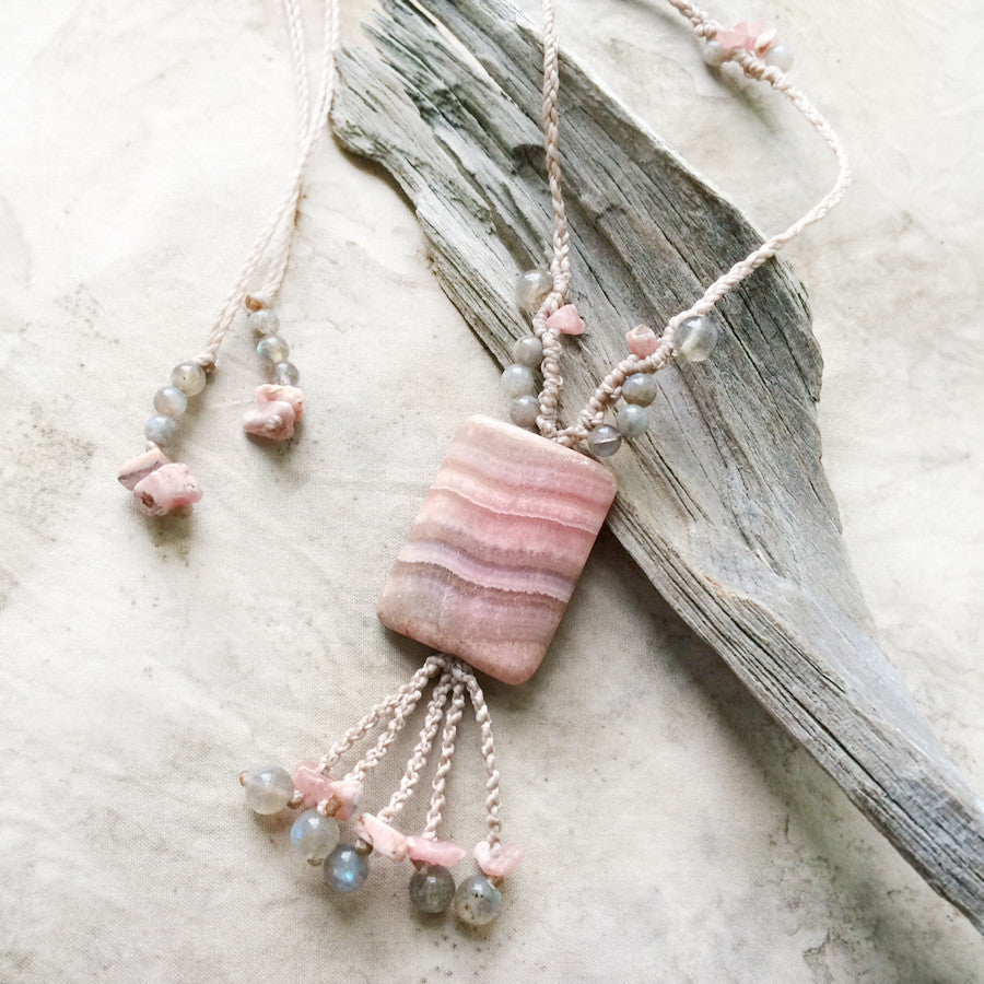 'Layers of Love' ~ Rhodochrosite crystal amulet with Labradorite