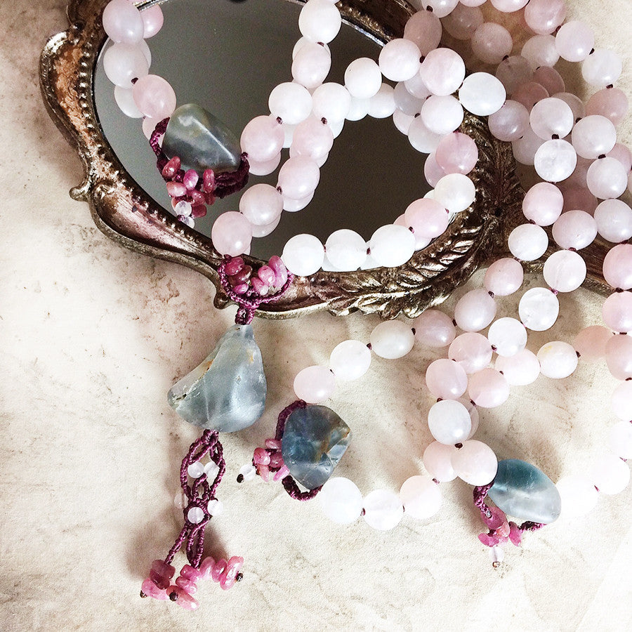 Rose Quartz mala with Fluorite & Rubellite