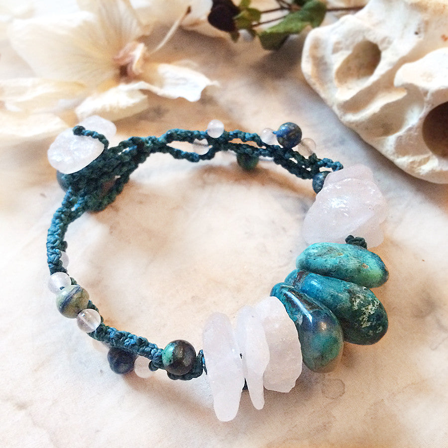 Crystal healing bracelet with Rose Quartz & Chrysocolla ~ for 6.5