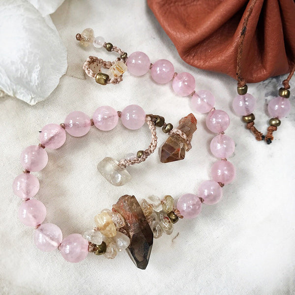 "Mala bracelet with Rose Quartz, Citrine & Gold Rutile Quartz ~ for up to 7.5"" wrist"