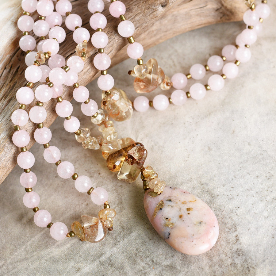 Rose Quartz mala with Citrine, Gold Rutile Quartz & Peruvian Pink Opal