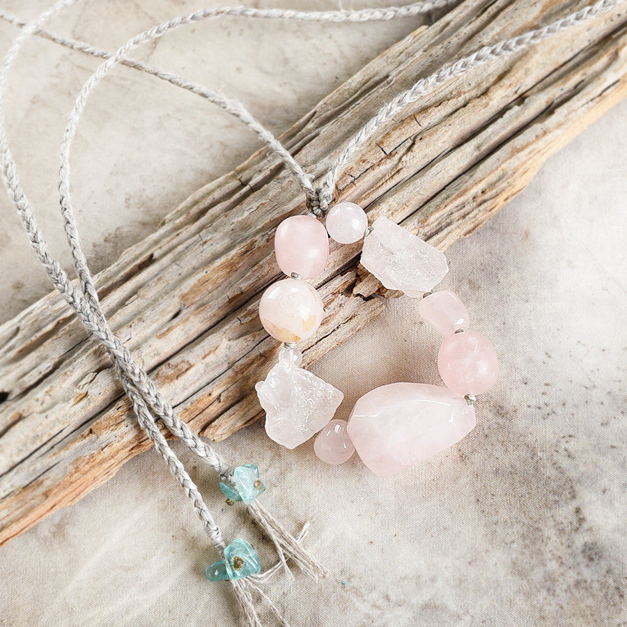 Rose Quartz talisman with Apatite, in organic linen braid