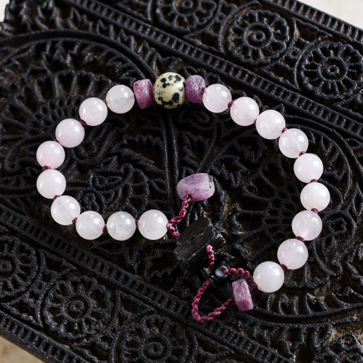 "Mala bracelet with Rose Quartz, Ruby, Black Tourmaline & Dalmatian Jasper ~ for 6.5""-7"" wrist"