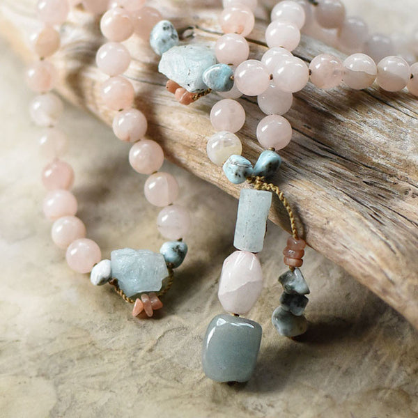 Rose Quartz mala with Aquamarine, Sunstone & Larimar
