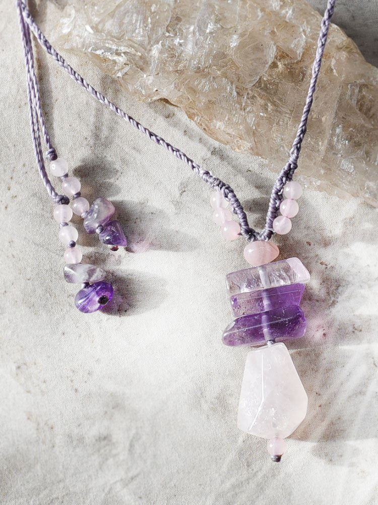 Crystal amulet with Rose Quartz & Amethyst