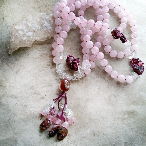ROSE QUARTZ MALA WITH GARNET, CLEAR QUARTZ, RUBELLITE & CARNELIAN