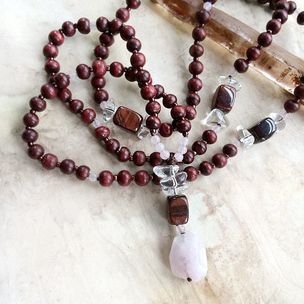 ROSEWOOD MALA WITH ROSE QUARTZ, TIGER IRON & CLEAR QUARTZ
