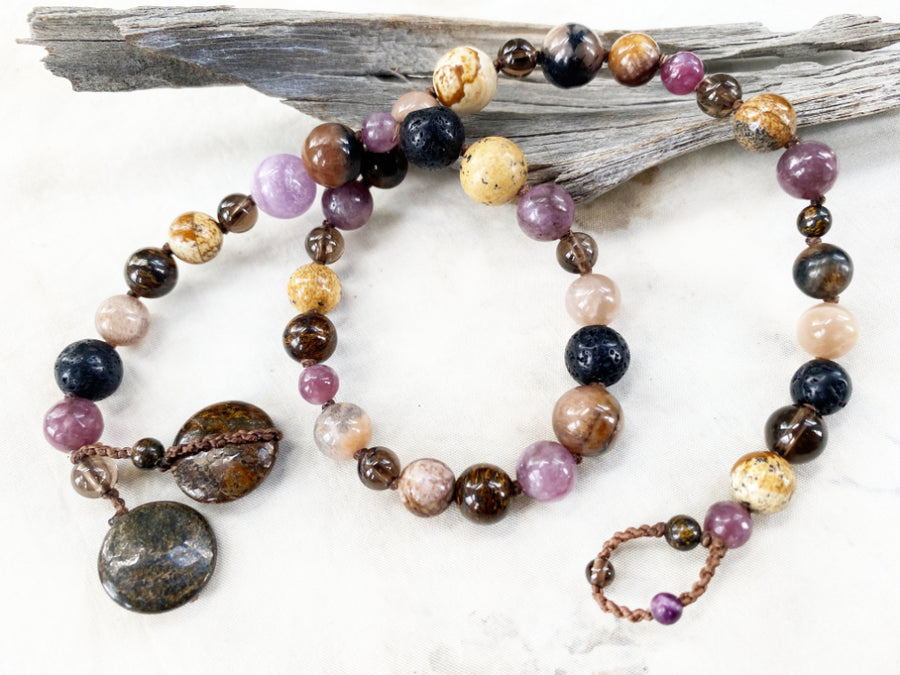 Crystal healing wrap bracelet in dark tones ~ for wrist size up to 6.5