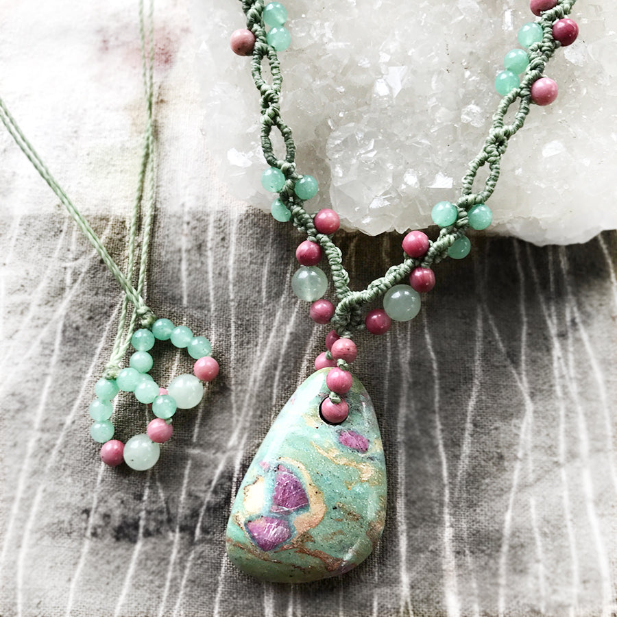 Ruby in Fuchsite crystal healing amulet