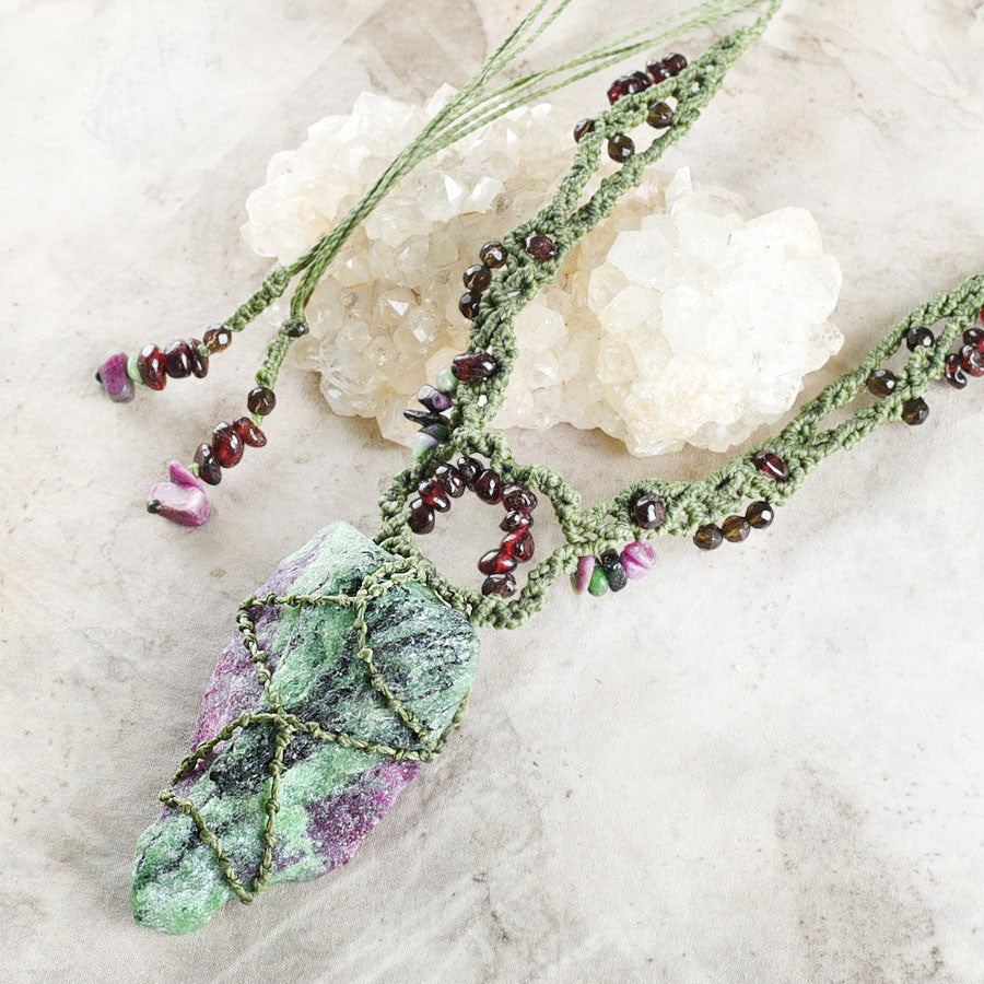 'Flowering Trail' ~ Ruby in Zoisite crystal amulet with Almandine Garnet