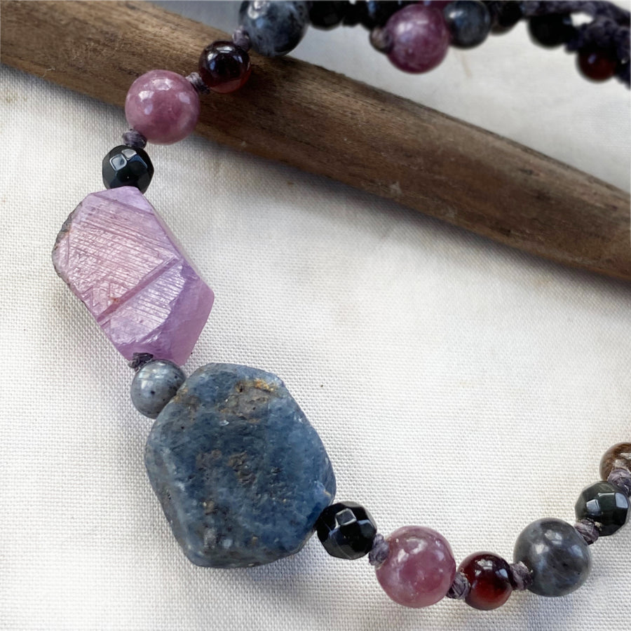 Crystal healing bracelet with Ruby & Sapphire ~ all wrist sizes (adjustable)