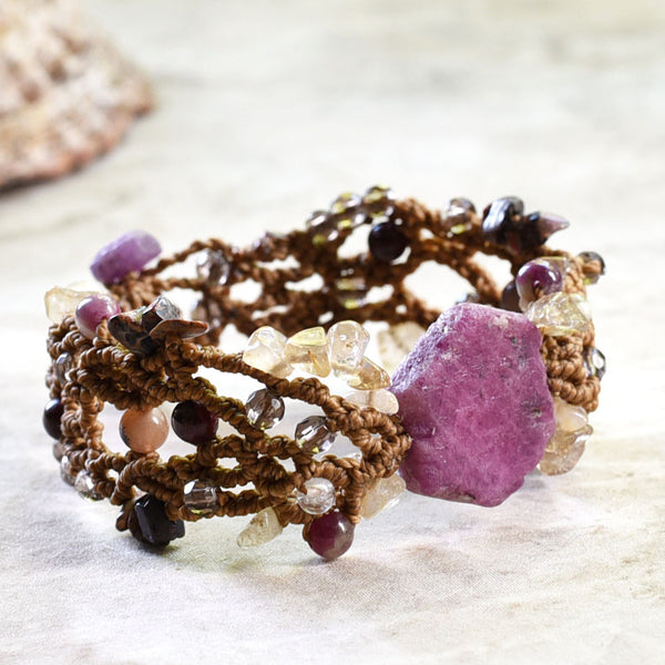 Crystal macrame cuff bracelet with raw Ruby ~ for wrist size 7""