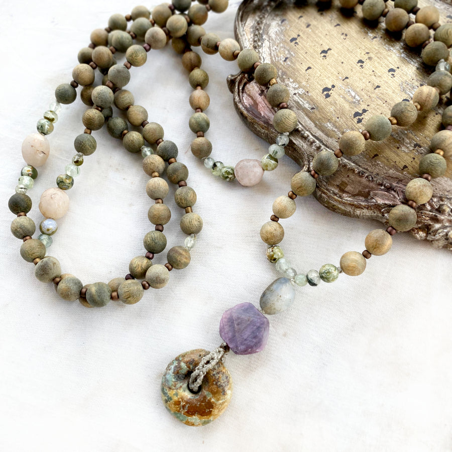 Green sandalwood meditation mala with Gobi Desert Agate, record-keeper Ruby & Turquoise