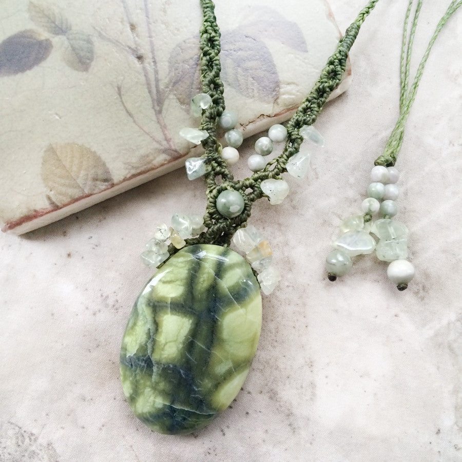 'Serenity' ~ Serpentine crystal amulet with Prehnite & Peace Jade