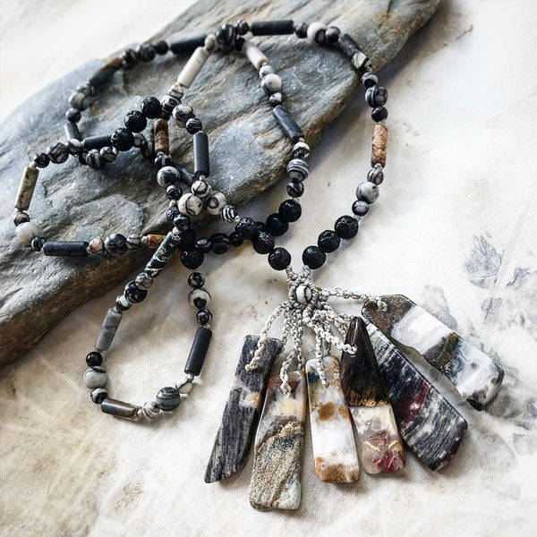 Crystal healing necklace with Silver Leaf Jasper, Picasso Jasper, Black Line Jasper & Lava Stone