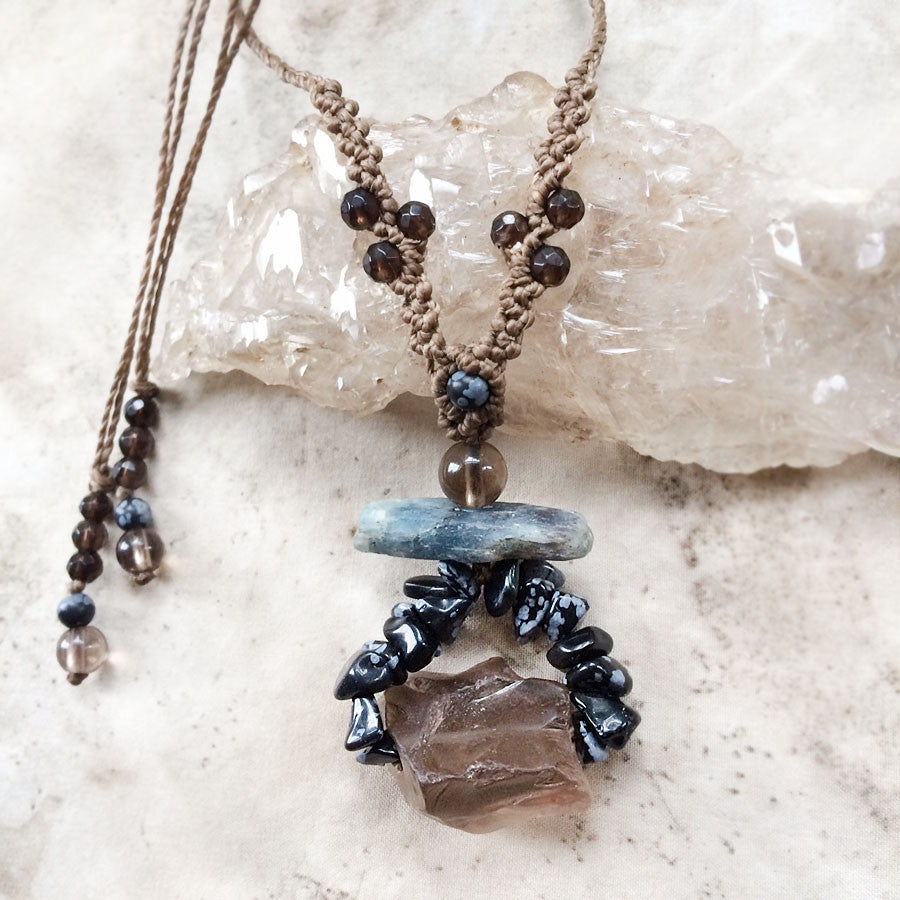 'Balance Within' ~ crystal amulet with Smokey Quartz, Kyanite & Snowflake Obsidian