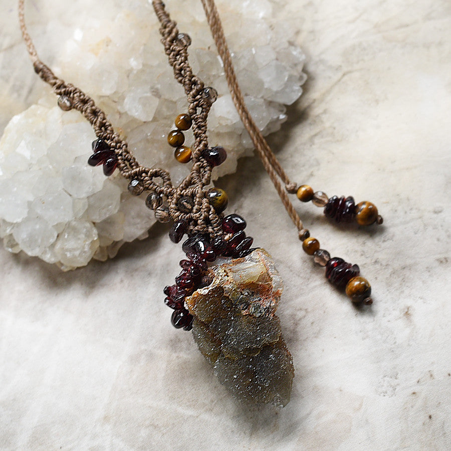 Crystal amulet with Smokey Spirit Quartz, Garnet & Tiger Eye
