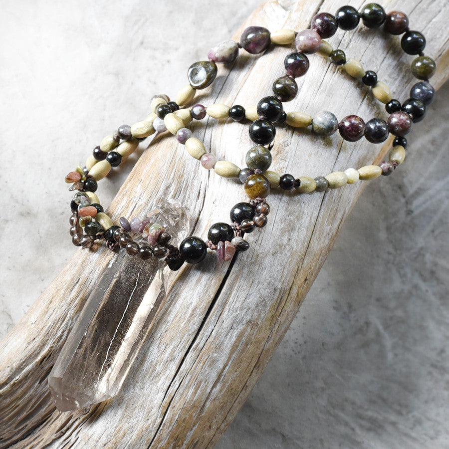 'On a Wisdom Trail' ~ Smokey Quartz crystal amulet with Tourmaline