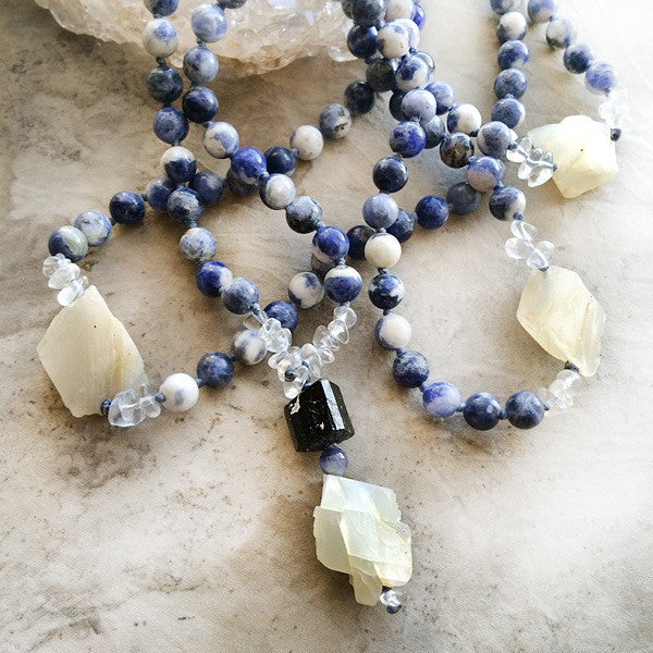 SODALITE MEDITATION MALA WITH MOONSTONE, BLACK TOURMALINE, CLEAR QUARTZ & IOLITE