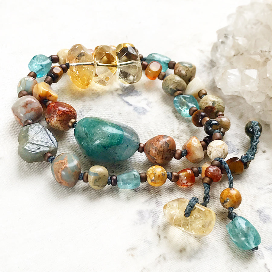 Crystal healing double wrap bracelet / short necklace