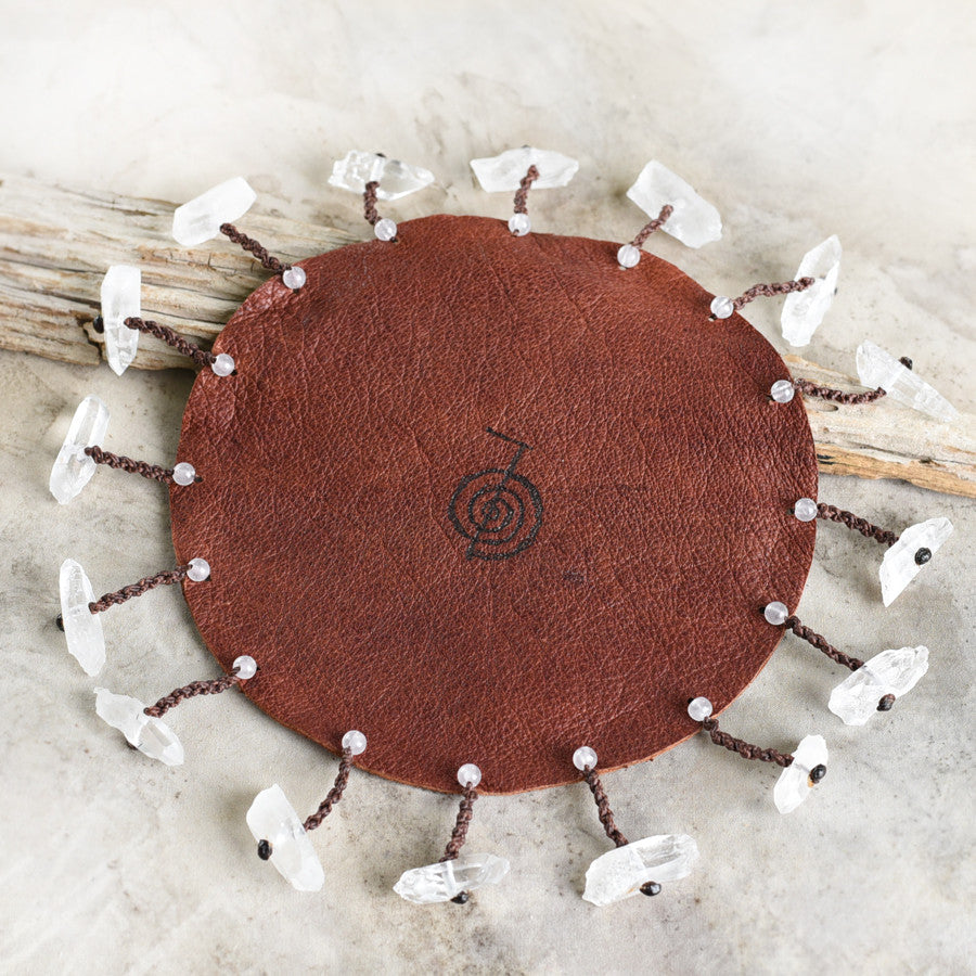 Spirit Carrier Meditation Wheel ~ original design with leather & crystals