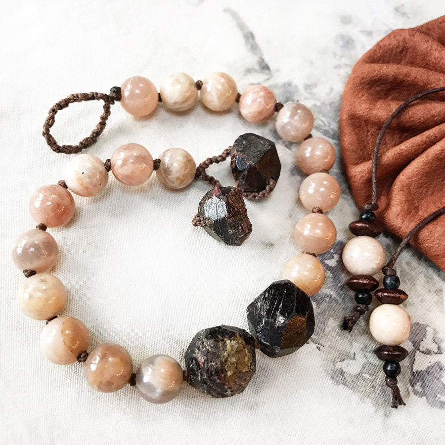 Mala bracelet with Sunstone & Almandine Garnet ~ for up to 8