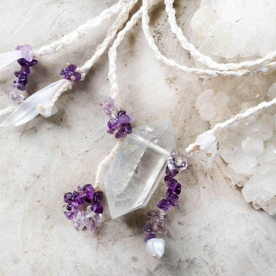 Sichuan Quartz crystal amulet with Amethyst & white Jade in silk & organic cotton braid
