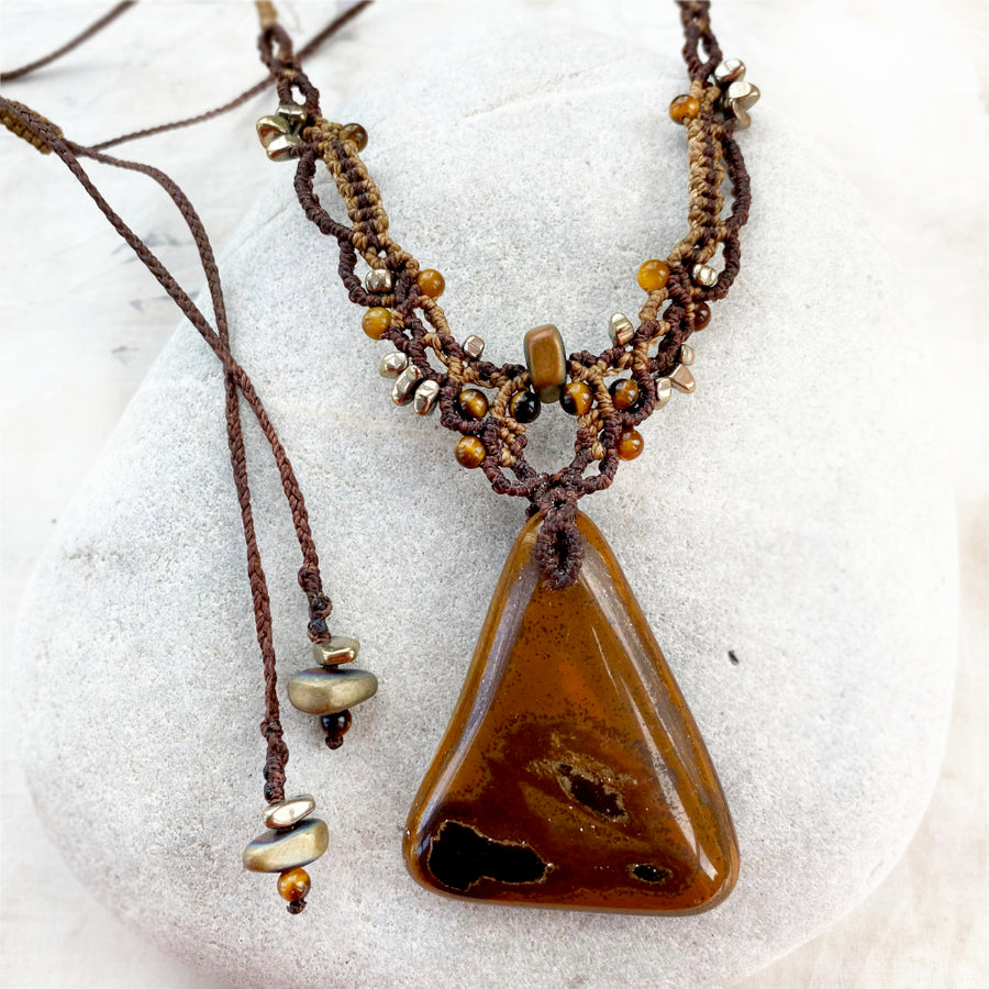 Tiger Eye crystal healing amulet