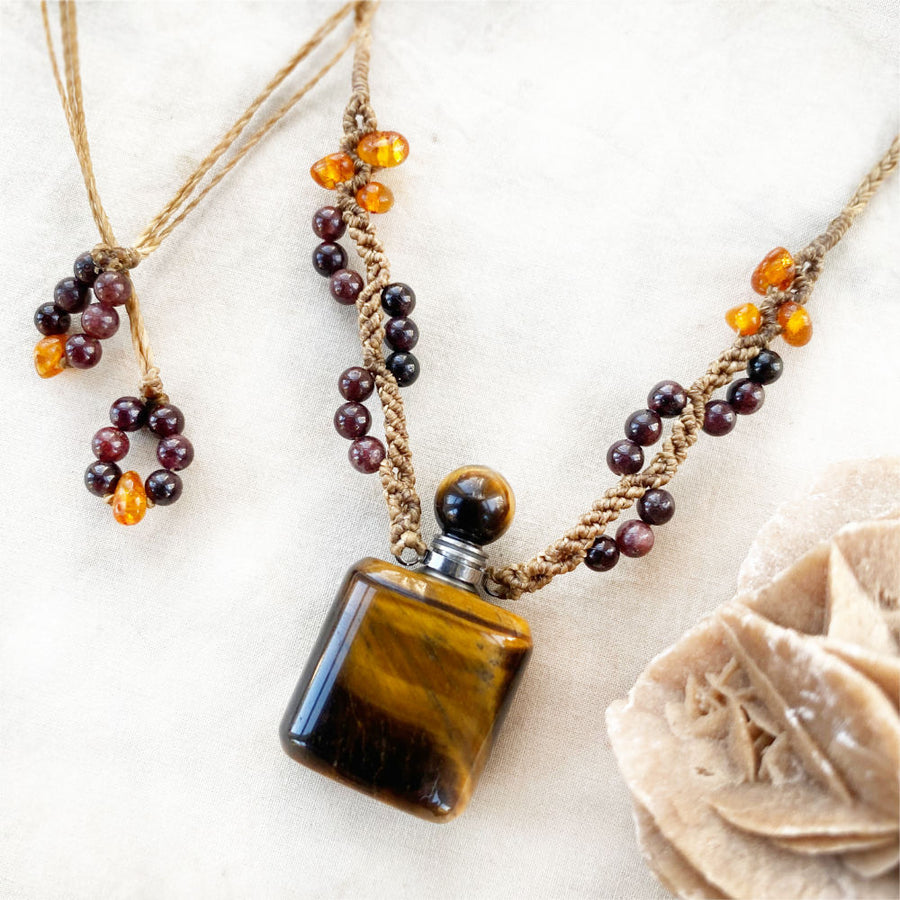 Tiger Eye bottle amulet ~ for essential oil or perfume