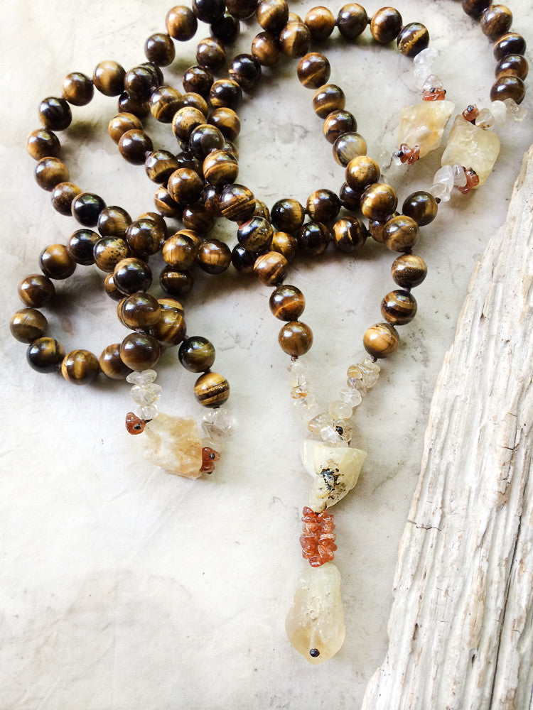 Tiger Eye mala with Citrine, Gold Rutile Quartz & Spessartine Garnet