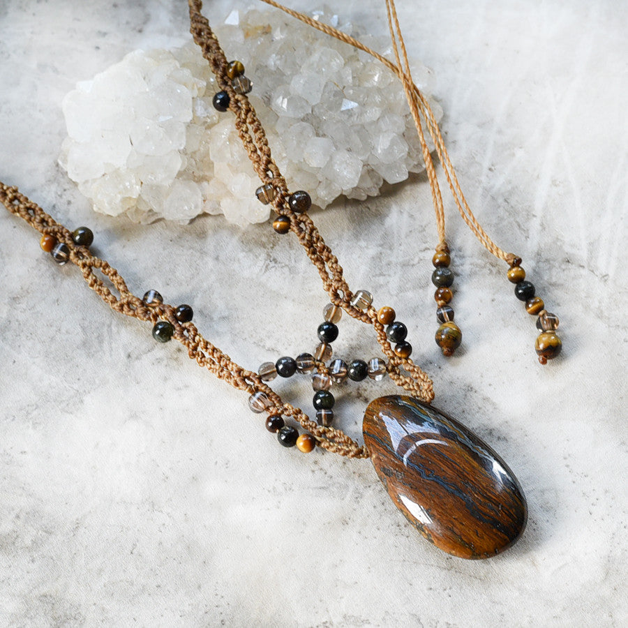 Tiger Eye crystal amulet with Smokey Quartz & Black Tourmaline