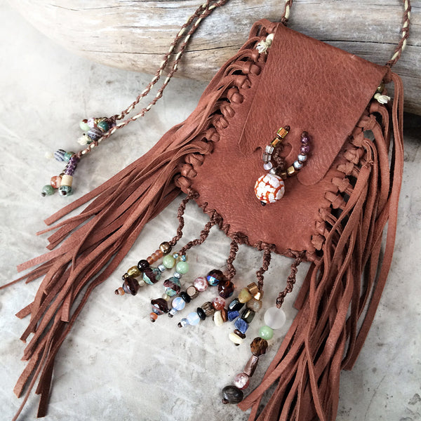 Tribal style brown leather pouch, fully hand-stitched with crystal details