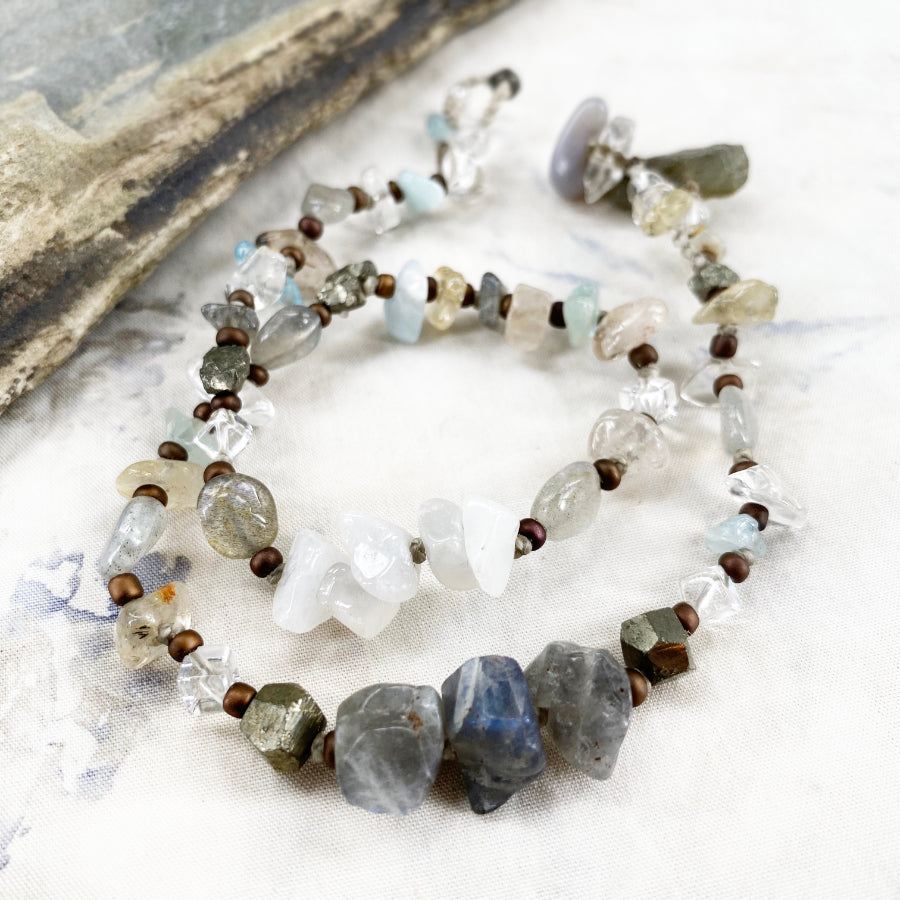 Crystal healing double wrap bracelet in light subtle tones ~ for up to 6