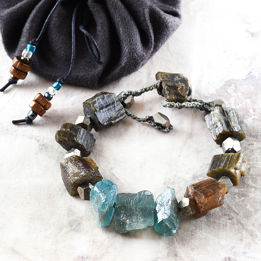 "Crystal healing bracelet with Verdelite, Apatite & Pyrite ~ for 6""-6.5"" wrist"
