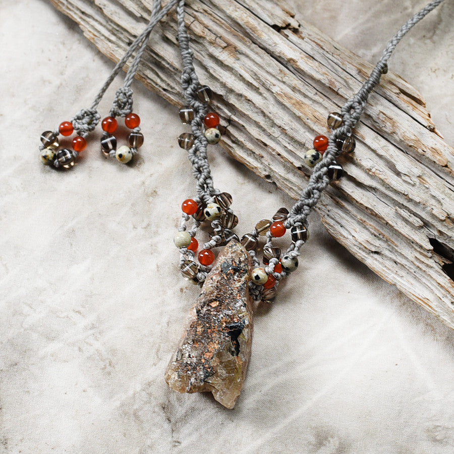Crystal amulet with Witches Finger Quartz, Carnelian, Smokey Quartz & Dalmatian Jasper