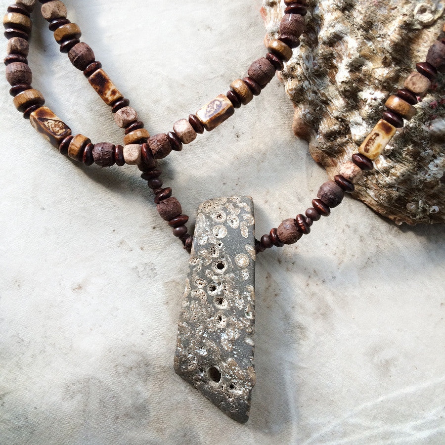 Stone talisman for men ~ with Fossil Coral on wooden necklace