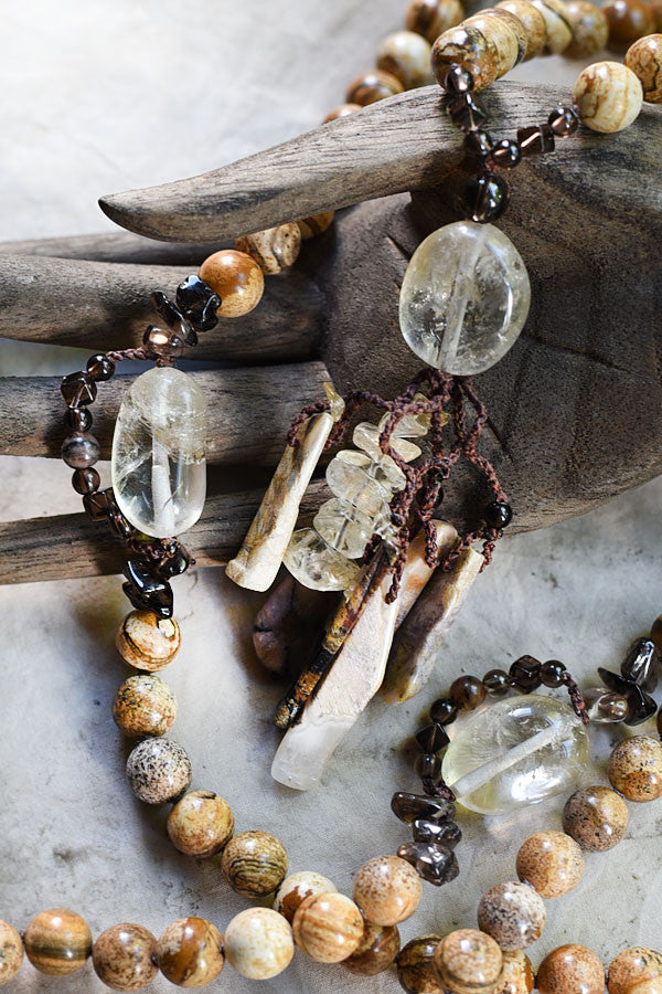Picture Jasper meditation mala with Citrine, Smokey Quartz, Chiastolite & Silver Leaf Jasper