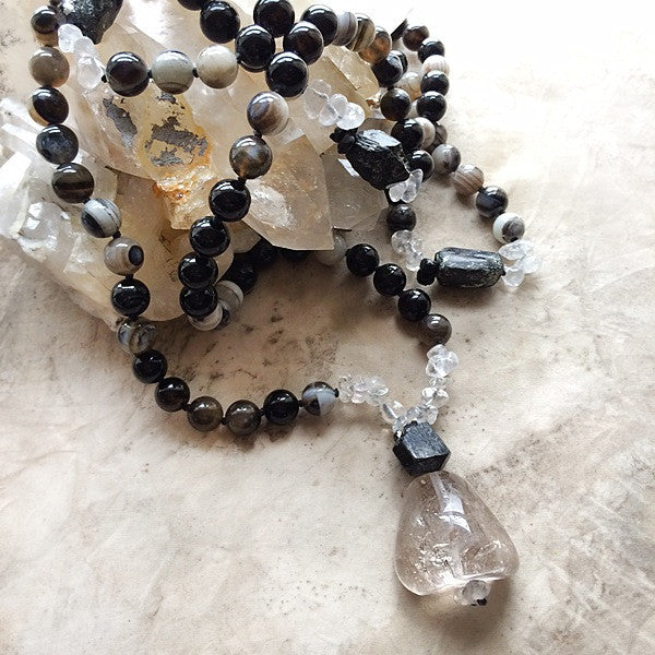AGATE MALA WITH BLACK TOURMALINE & SHAMAN DREAM STONE QUARTZ