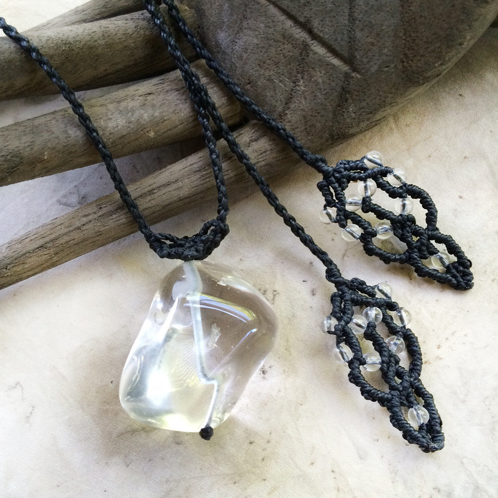 Clear Quartz crystal healing necklace in black macrame