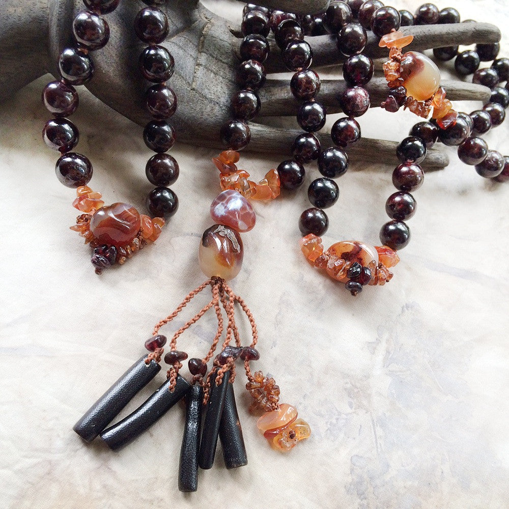 Garnet mala with Carnelian, Fire Agate & Black Coral