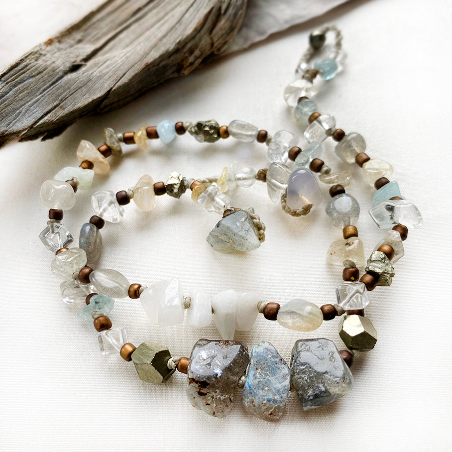 Crystal healing double wrap bracelet in light subtle tones ~ for up to 6.25