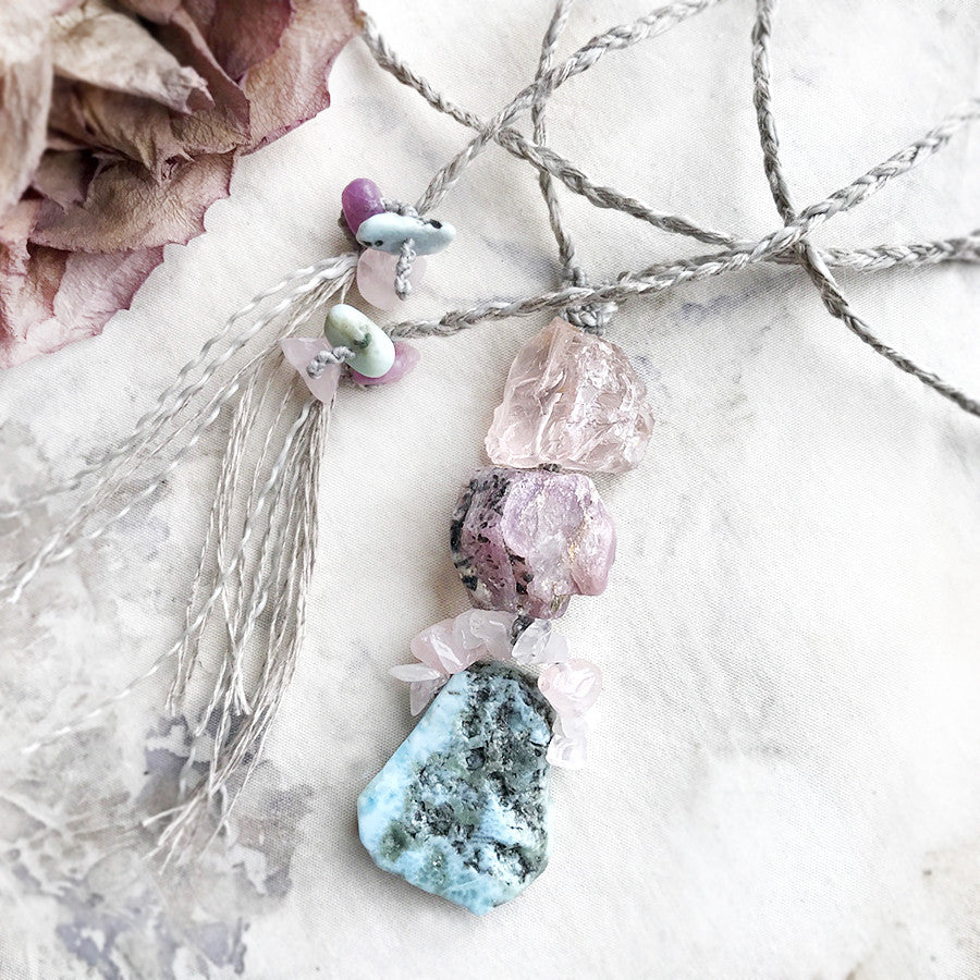 'Three stone talisman' ~ with Larimar, Ruby & Rose Quartz