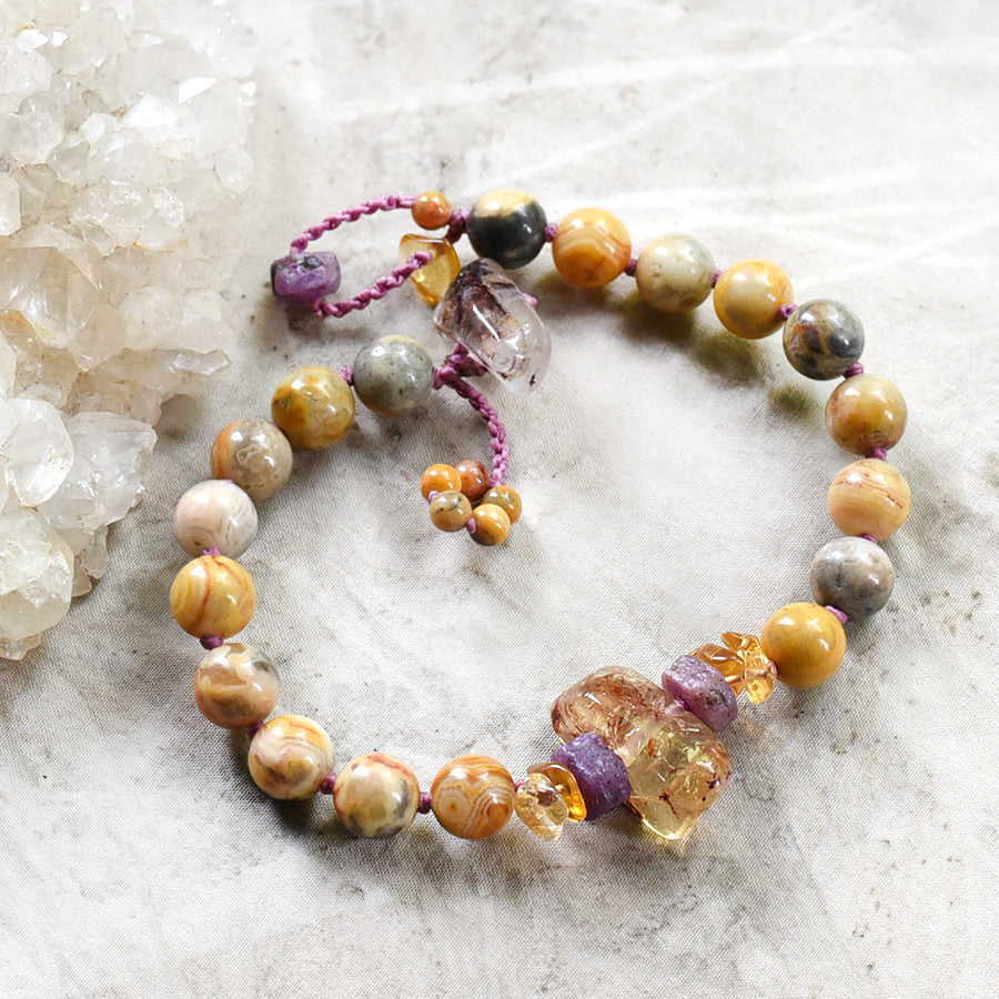 "Mala bracelet with Crazy Lace Agate, Ruby & Citrine ~ for 6.5""-7"" wrist"