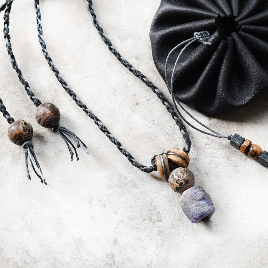 Stone talisman for men ~ with raw Sapphire, Tibetan Dzi Agate & antique mala beads