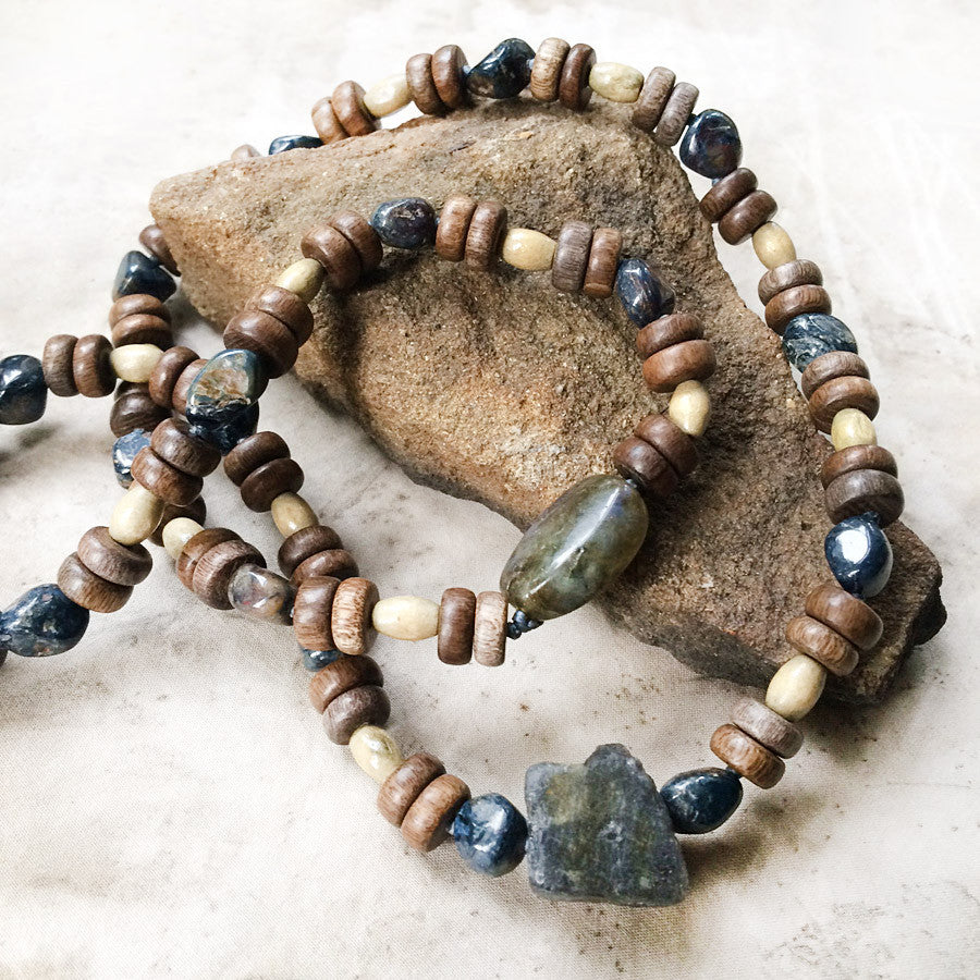 Stone talisman for men ~ with Labradorite, Pietersite & wooden beads