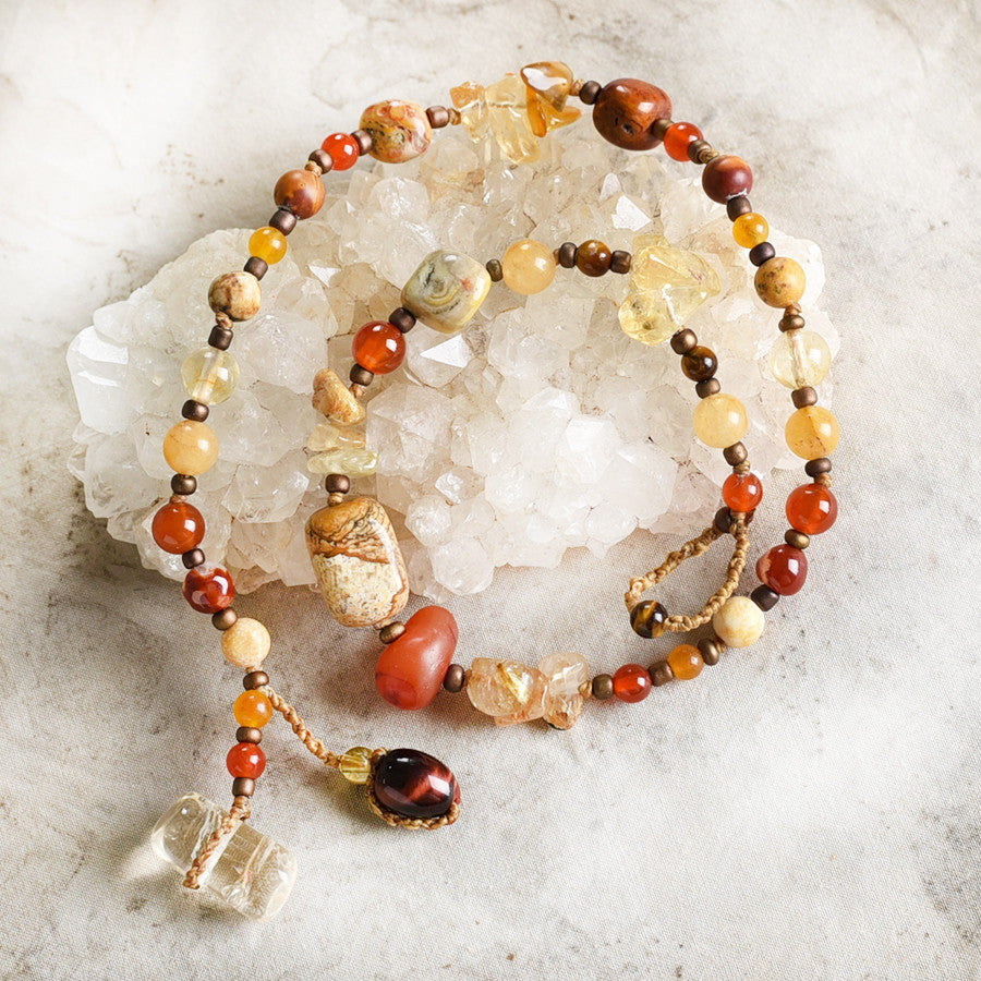 "Crystal healing double wrap bracelet in warm tones ~ for 6.5"" wrist"