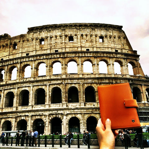 Orange multiple passport holder Rome