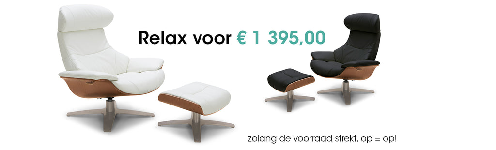 Moderne relax in leder wit of zwart