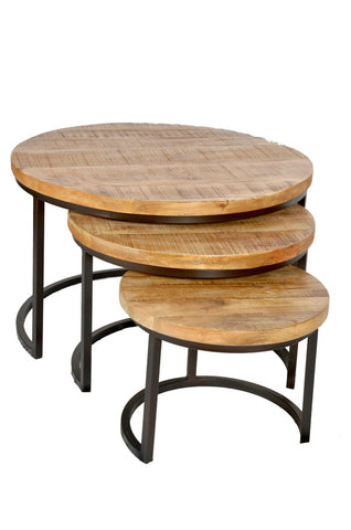 Nested Iron Wooden Round Coffee Table